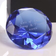 Engraved Blue Diamond Shaped Paperweight