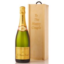 Personalised Champagne in Personalised Wooden Gift Box