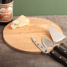 Personalised Mr & Mrs Cheese Board and Accessories Set