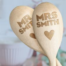 Pair of Personalised Mr & Mrs Wooden Spoons