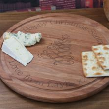 Personalised Round Christmas Cheese Board