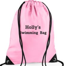 Personalised Embroidered Pink Gym/PE/Swim Kit Bag
