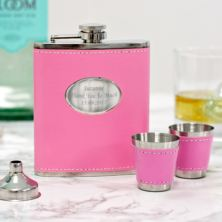 Personalised 7oz Pink Hip Flask with 2 Cups & Funnel