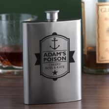 Personalised Poison Anchor Design Hip Flask