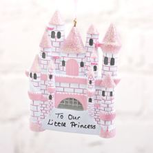 Personalised Pink Princess Castle Hanging Decoration