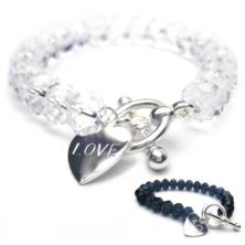 Pure Personalised Bracelet with Sterling Silver Heart