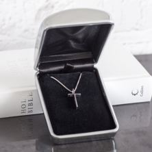 Solid Silver Classic Cross In Personalised Box