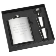 Engraved Stainless Steel Hip Flask Gift Set