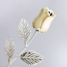 Personalised Silver Plated Rose With Pearl Bud
