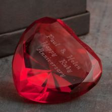 Personalised Red Heart Glass Paperweight