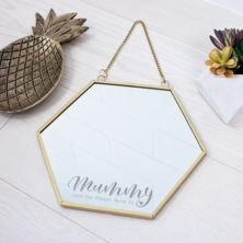 Personalised Touch of Gold Mummy Hexagon Mirror