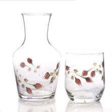 Hand Painted Carafe Set - Rosebud