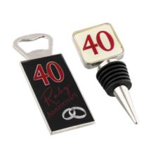 Ruby Anniversary Bottle Stopper and Opener Set