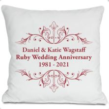 Exclusive Personalised Ruby Anniversary Doodle Heart Cushion by DoodleDeb