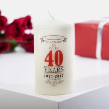 Personalised 40th Anniversary Candle