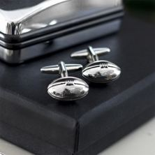 Silver Plated Rugby Balls Sport Cufflinks in Personalised Box