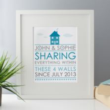 Sharing Everything Within These 4 Walls Since  - Personalised Framed Print