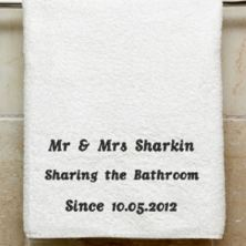 Personalised Embroidered Sharing the Bathroom Towel