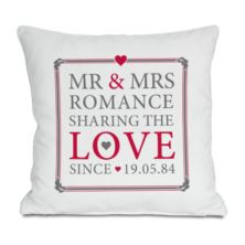 Personalised Mr & Mrs Sharing The Love Since Cushion
