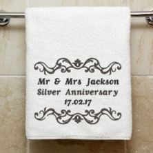 Personalised Embroidered Silver Anniversary Towel