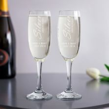 Personalised Silver Anniversary Champagne Flutes