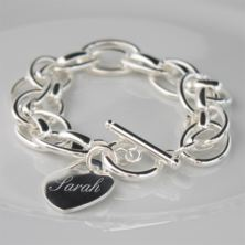 Engraved Silver Plated Bracelet with Personalised Gift Box