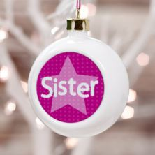 Personalised Sister Christmas Bauble