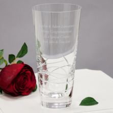 Engraved Tiesto Conical Crystal Vase