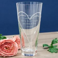 Personalised Diamante Conical Vase With Etched Heart Design