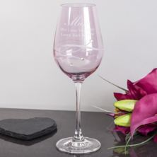 Personalised Pink Diamante Wine Glass For Mum
