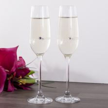 Pair Of Personalised Heart And Diamante Champagne Flutes