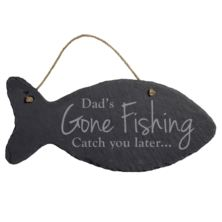 Personalised Hanging Slate Fish - Gone Fishing