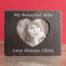 Personalised Slate Photo Frame With Inner Heart