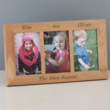 Engraved Solid Oak Triple Photo Frame