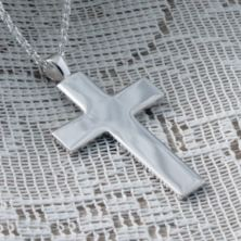 Large Solid Silver Cross Pendant in Personalised Box