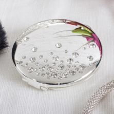 Engraved Sophia Silverplated And Crystal Compact Mirror