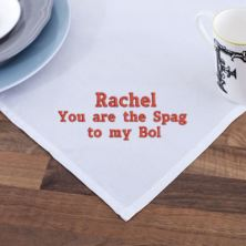Embroidered The Spag to my Bol Tea Towel
