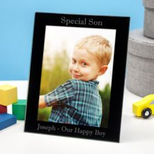 Personalised Special Son Black Glass Photo Frame