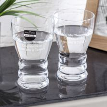 Pair Of Hand Made Personalised Dartington Wibble Water Glasses
