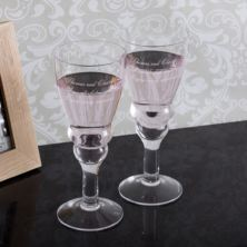 Personalised Hand Made Pair Of Dartington Wibble Wine Glasses