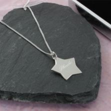Solid Silver Star Pendant in Personalised Box