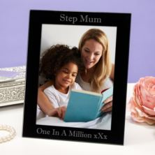 Personalised Step Mum Black Glass Photo Frame