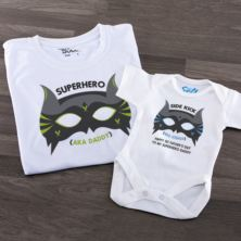 Personalised Superhero T Shirt And Baby Grow Set