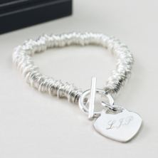 Solid Silver Heart and Rings Bracelet With Personalised Gift Box