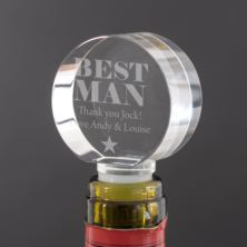 Personalised Best Man Optical Crystal Bottle Stopper