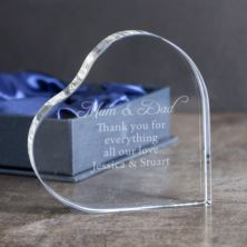 Engraved Clear Heart Standing Crystal Paperweight