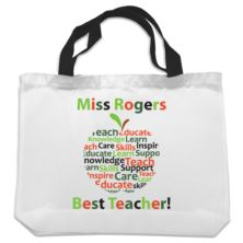 Personalised Teacher Shopping Bag - Apple Design