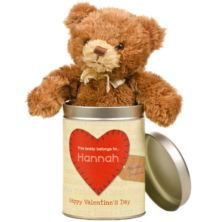 Loving Words Valentines Day Teddy in a Tin