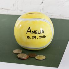 Personalised Herringbone China Tennis Ball Money Box