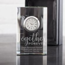 Personalised Together Forever Crystal Mantel Clock